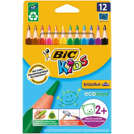 Fargeblyant 12-pk Kids Ecolution Triangle BIC
